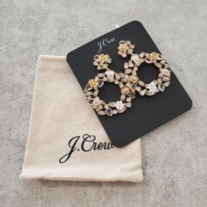 J Crew Floral Hoop Earrings Clear Gold Statement